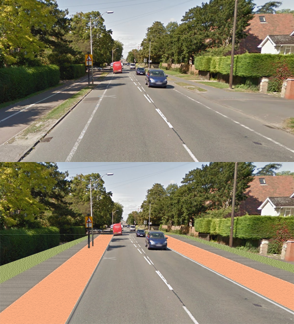 Hills Road Cambride proposed new cycle paths